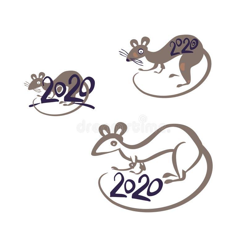Calendario Cinese 2020.Anno Dipinto Variopinto Di Simboli Del Ratto 2020 Sul