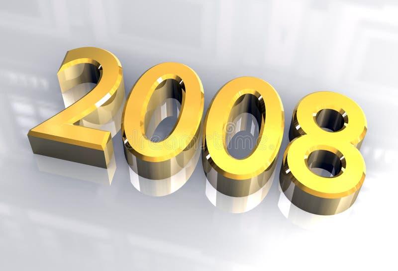 Anno nuovo 2008 in oro (3D) royalty illustrazione gratis
