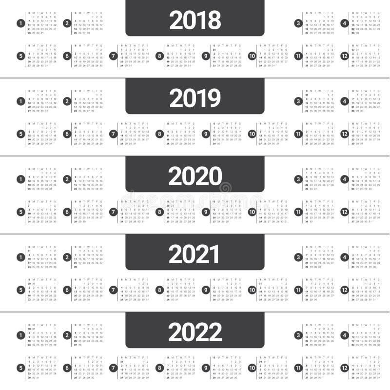 Anno 2018 2019 2020 2021 2022 regista il vettore illustrazione di stock