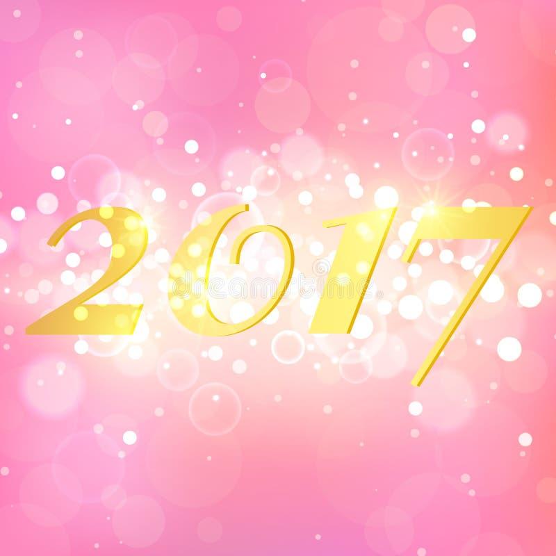 Anno 2017 su fondo astratto rosa Disposizione elegante con le scintille magiche di scintillio illustrazione vettoriale