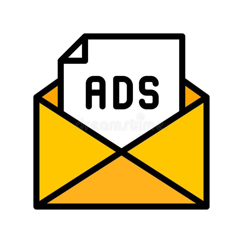 Annonçant le vecteur de courrier, la vente de Digital a rempli course editable d'icône illustration libre de droits
