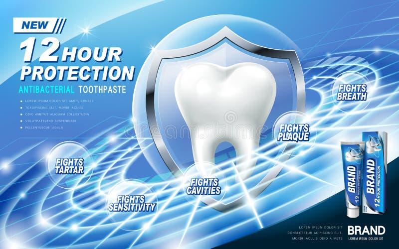 Annonce antibactérienne de pâte dentifrice illustration stock
