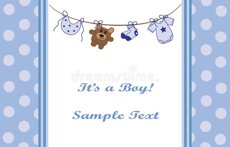 Annonce bleue de bébé illustration stock