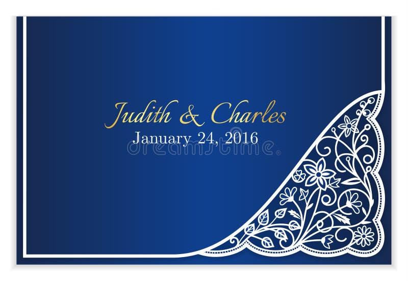 Annonce bleue de mariage avec la dentelle florale blanche illustration libre de droits