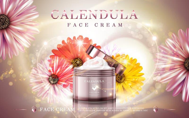 Annonce crème faciale de Calendula illustration libre de droits