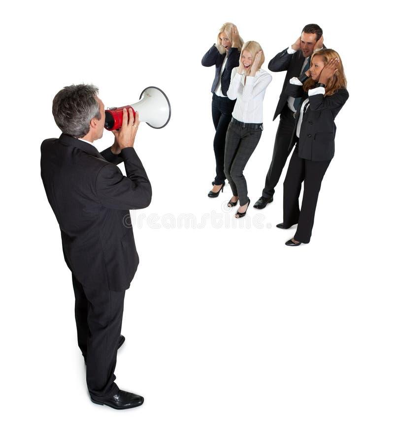 Annonce d'affaires par le haut-parleur sur le blanc images libres de droits