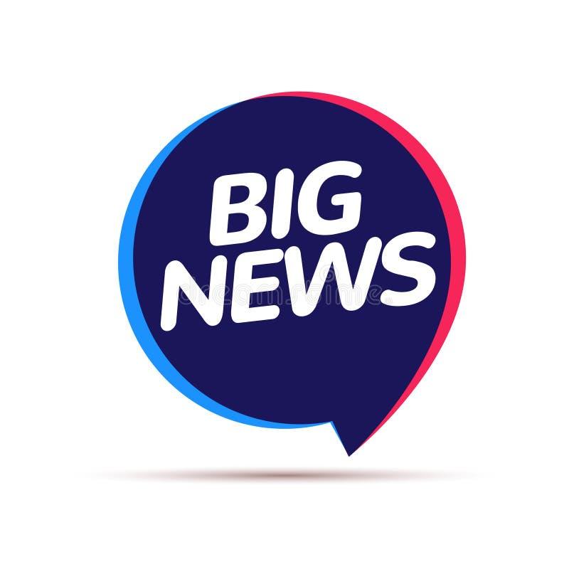 Annonce d'insigne de bonnes nouvelles Grand concept de l'information de journalisme de bulle de la parole de libération illustration de vecteur