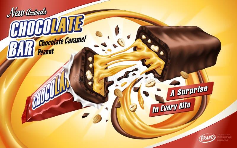 Annonce de barre de chocolat de caramel illustration de vecteur
