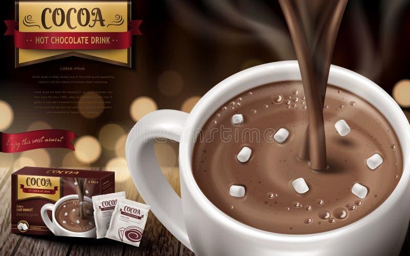 Annonce de boissons de chocolat chaud illustration libre de droits
