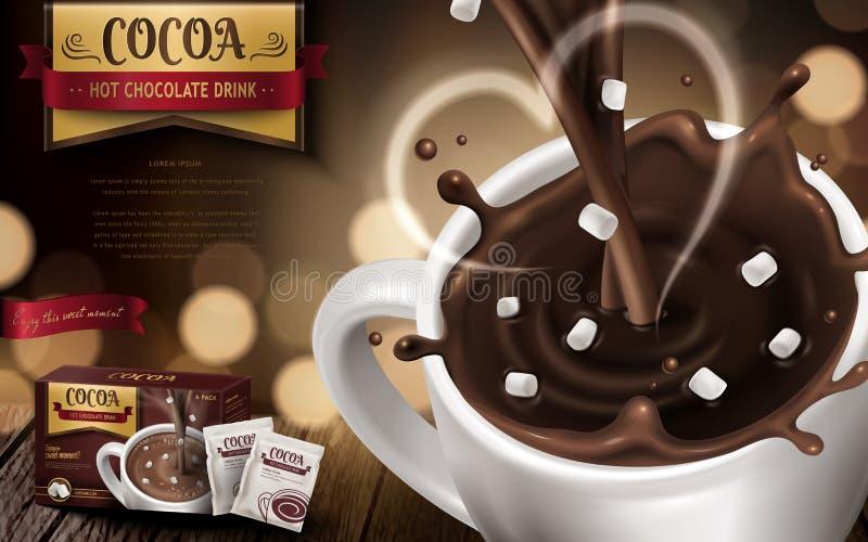 Annonce de boissons de chocolat chaud illustration de vecteur