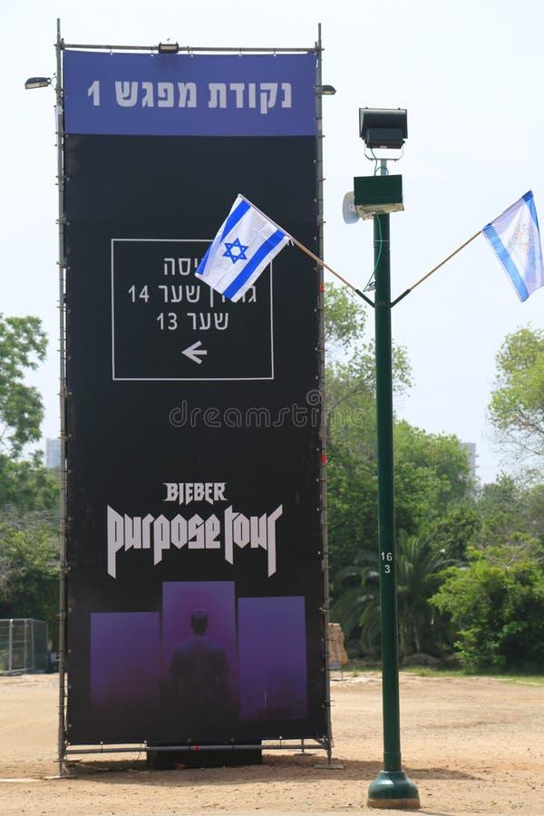 Annonce de concert de Justin Bieber au parc HaYarkon à Tel Aviv, Israël images libres de droits