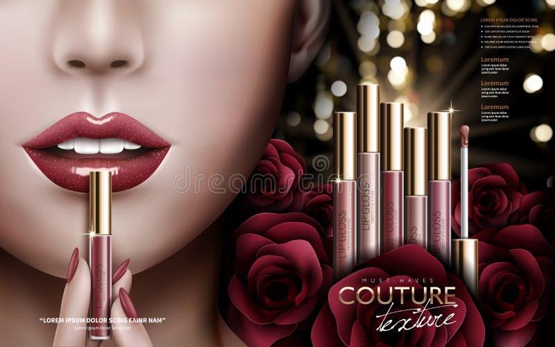 Annonce de lustre de lèvre de Rose illustration de vecteur