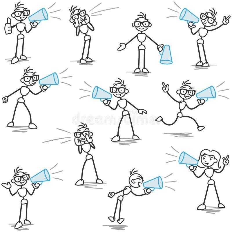 Annonce de mégaphone de Stickman, criant illustration libre de droits