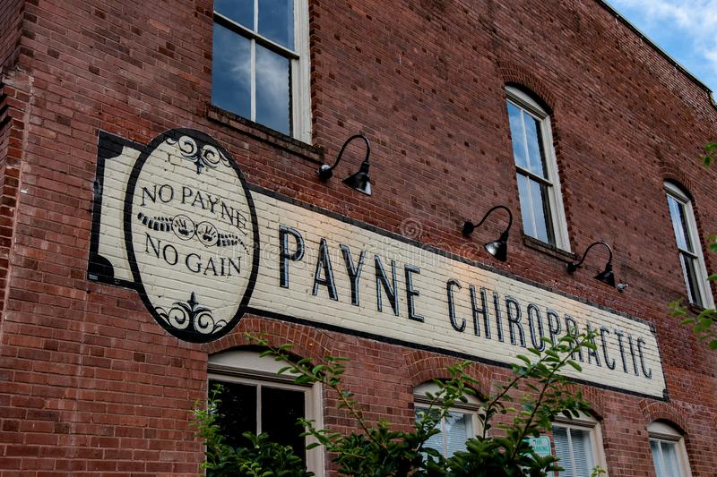 Annonce de Payne Chiropractic photographie stock