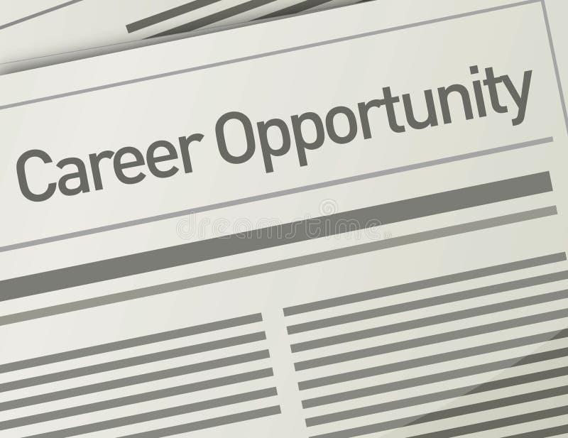 Annonce de possibilité de carrière de journal, concep d'emploi illustration libre de droits