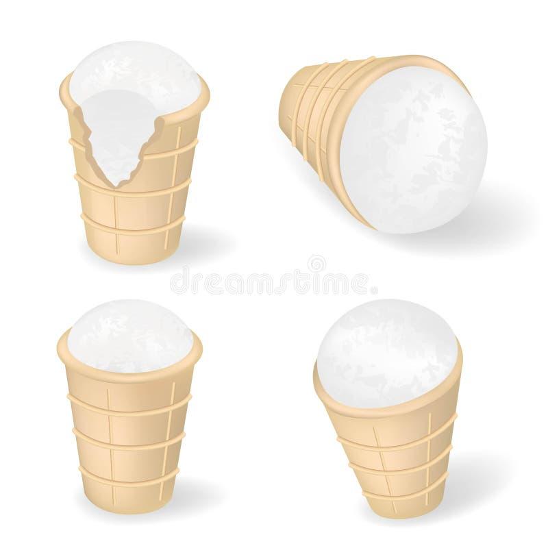 Annonce de produits classique de glace ? la vanille Illustration du vecteur 3d C?nes de gaufre de cr?me glac?e dans le poze diff? illustration libre de droits