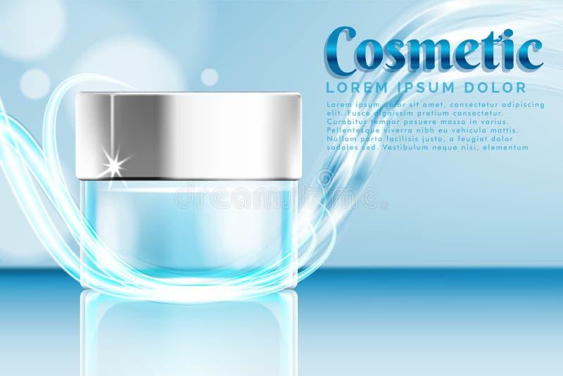 annonce de produits cosmétique de pot crème, avec le fond d'éclaboussure de l'eau illustration libre de droits