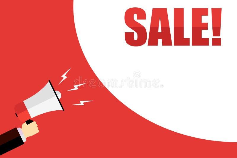 Annonce de propagation de mégaphone au sujet de fond rouge de vente illustration stock