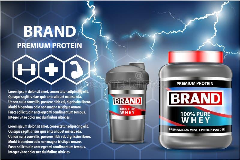 Annonce de récipients de produit de nutrition de sport Gagnants de poids réglés Bouteilles de protéine de lactalbumine emballage  illustration libre de droits