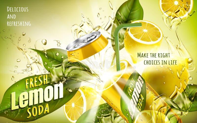Annonce fraîche de soude de citron illustration stock