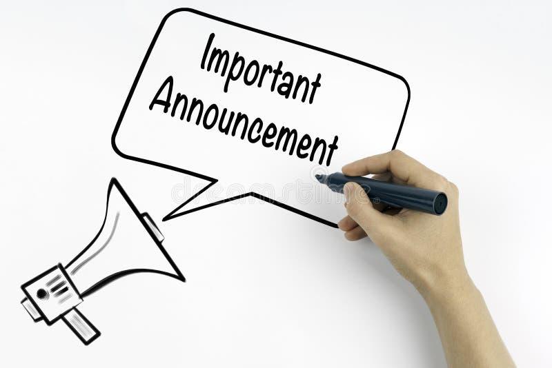 Annonce importante Mégaphone et texte photo stock