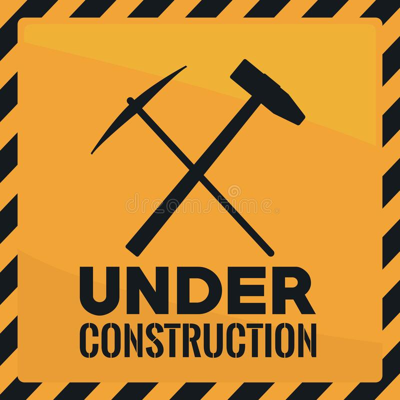 Annonce jaune en construction illustration libre de droits