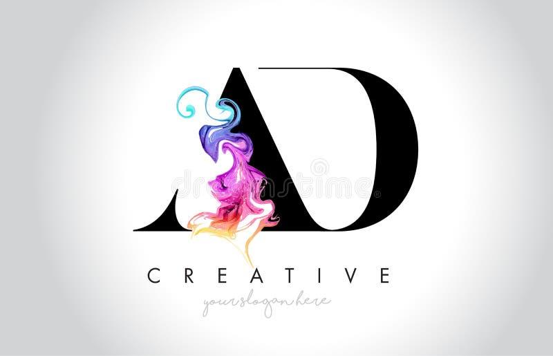 ANNONCE Leter créatif vibrant Logo Design avec l'encre colorée la Floride de fumée illustration de vecteur