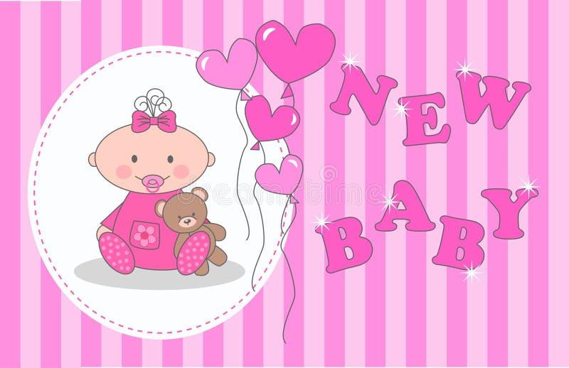 Annonce nouveau-née de bébé illustration stock