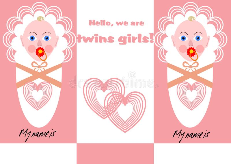 Annonce nouveau-née de fille de jumeaux avec deux bébés dans la conception rose illustration de vecteur