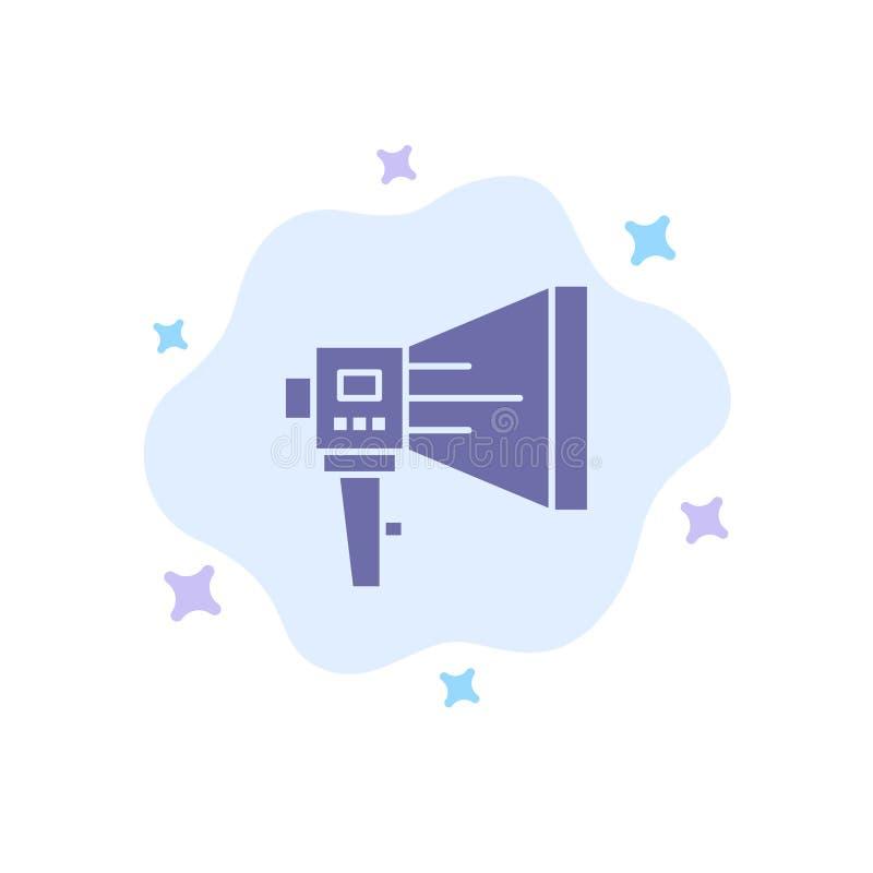 Annonce, numérique, haut-parleur, marketing, mégaphone, haut-parleur, icône Bleu d'outil sur abstraction Contexte nuageux illustration libre de droits