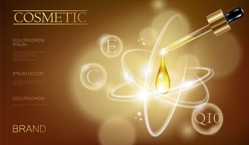 Annonce réaliste de cosmétique de bouteille de l'essence 3d Pipette en baisse de gouttelette d'huile Sérum de vitamine de collagè illustration libre de droits