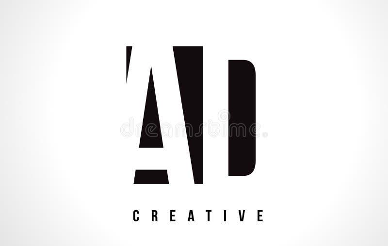 ANNONCE une lettre blanche Logo Design de D avec la place noire illustration stock