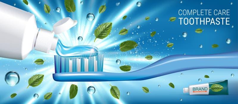 Annonces antibactériennes de pâte dentifrice Dirigez l'illustration 3d avec des feuilles de pâte dentifrice et d'esprit illustration stock