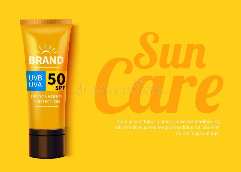 Annonces calibre de Sunblock, conception de produits cosmétique de protection du soleil avec de la crème de crème hydratante ou l illustration libre de droits