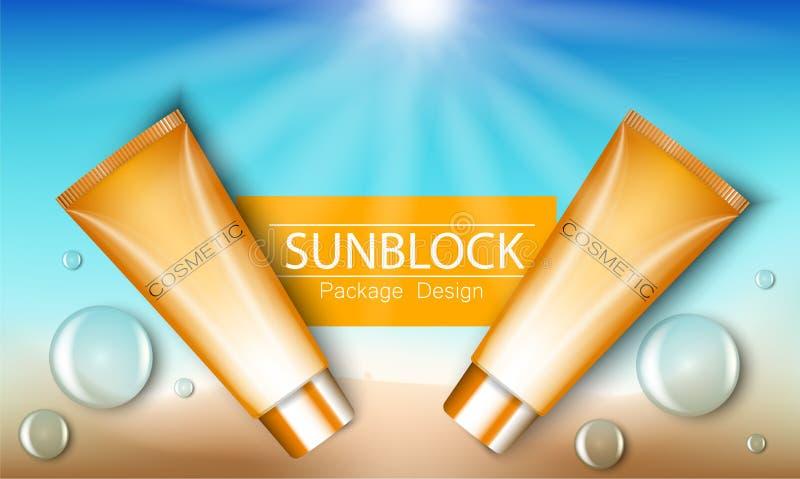 Annonces calibre, produits de Sunblock de cosmétique de protection du soleil illustration 3D pour la magazine ou les annonces Bou illustration de vecteur