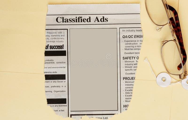 Annonces classifiées image stock