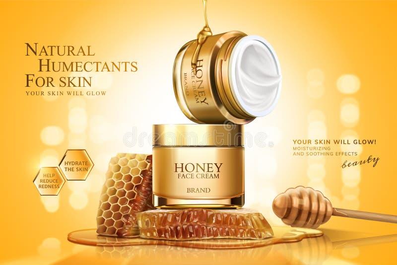 Annonces crèmes de pot de miel illustration de vecteur