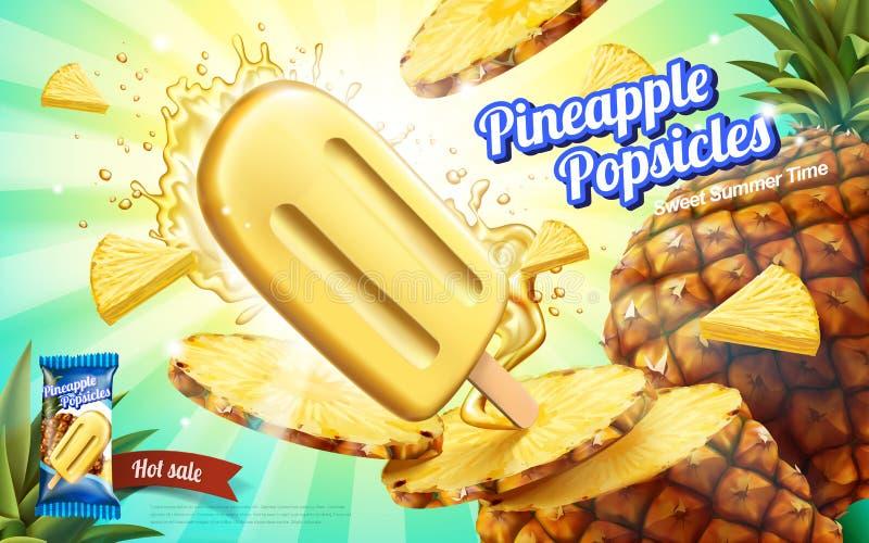 Annonces de glaces à l'eau d'ananas illustration libre de droits