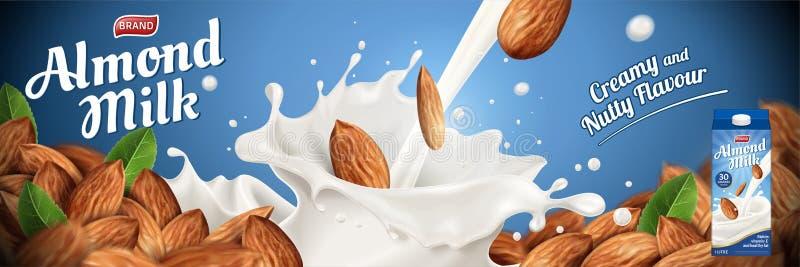 Annonces de lait d'amande illustration stock