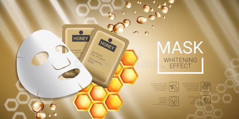Annonces de masque de soins de la peau de miel Dirigez l'illustration avec du miel lissant le masque et l'empaquetage illustration de vecteur