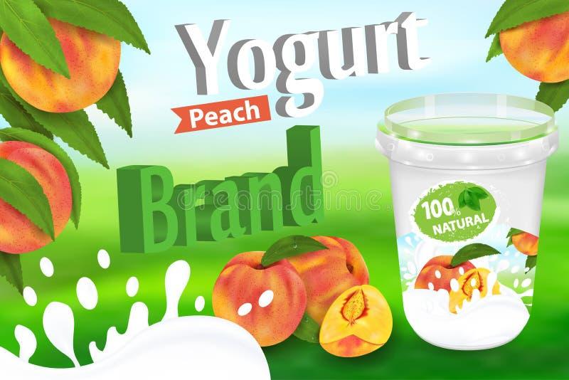 Annonces de p?che de yaourt avec le conteneur de ?claboussement et de empaquetage illustration r?aliste du vecteur 3d illustration stock