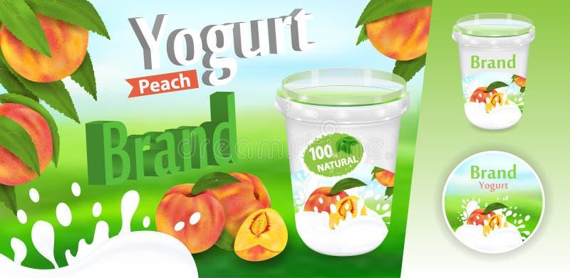 Annonces de p?che de yaourt avec le conteneur de ?claboussement et de empaquetage illustration r?aliste du vecteur 3d illustration de vecteur
