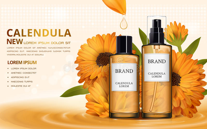 Annonces de toner de peau de Calendula illustration stock