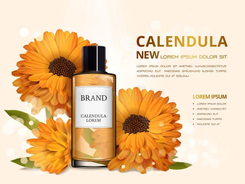 Annonces de toner de peau de Calendula illustration de vecteur