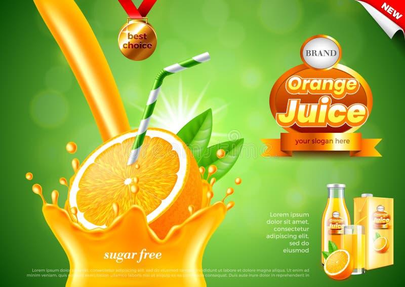 Annonces de versement de jus d'orange Fond réaliste de vecteur illustration stock