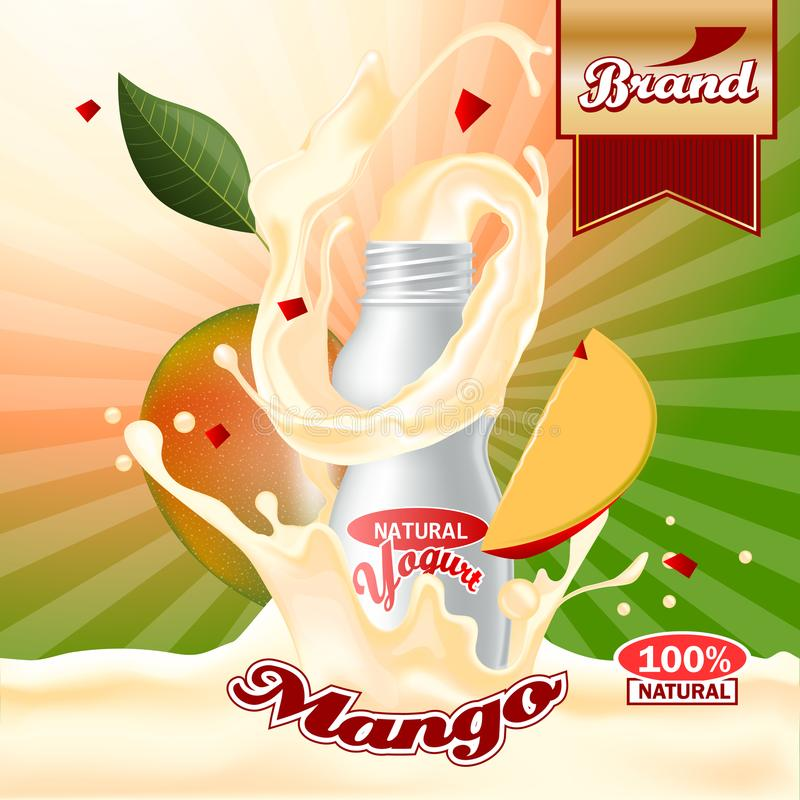 Annonces de yaourt de mangue Éclaboussement de la scène du paquet et des fruits Maquette Editable illustration libre de droits