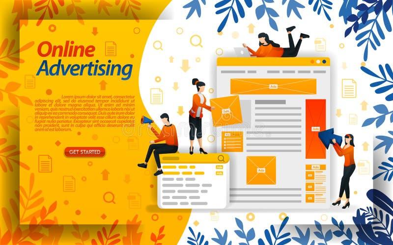 Annonces en ligne la publicit? sur des moteurs de recherche le placement d'annonce et le PPC payent par clic, ilustration de conc illustration de vecteur