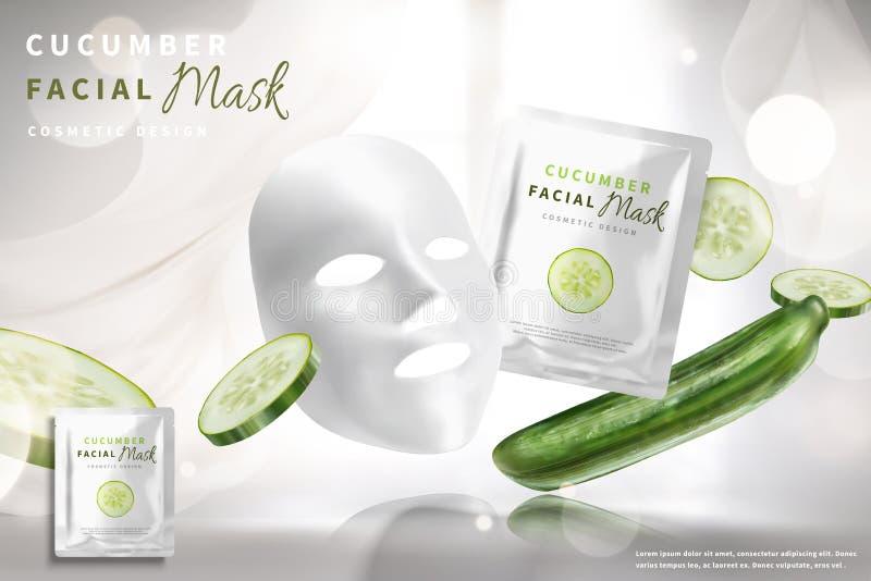 Annonces faciales de masque de concombre illustration de vecteur