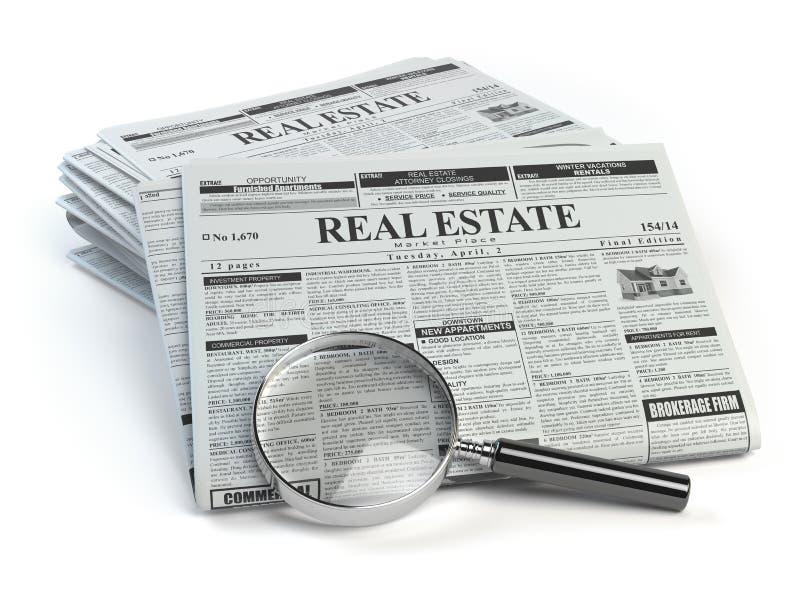Annonces journal de classifieds d'immobiliers et isolant de loupe illustration de vecteur