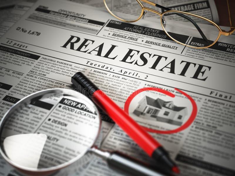 Annonces journal et loupe de classifieds d'immobiliers illustration stock